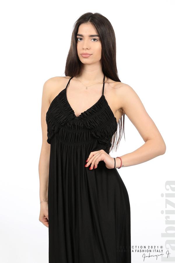 Дълга рокля с ефектна горна част черен 2 fabrizia