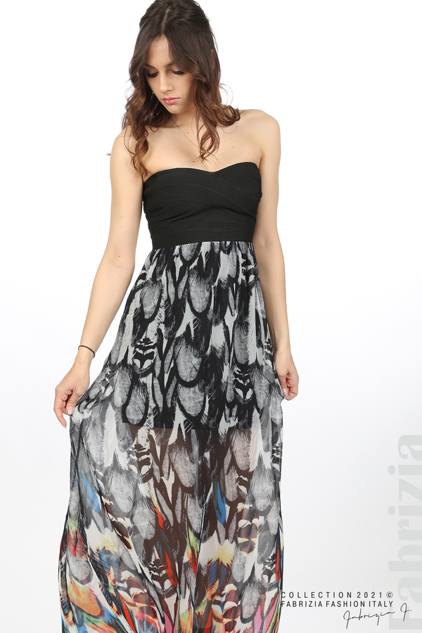 Дълга рокля с ластично бюстие черен 4 fabrizia