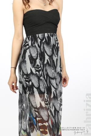 Дълга рокля с ластично бюстие