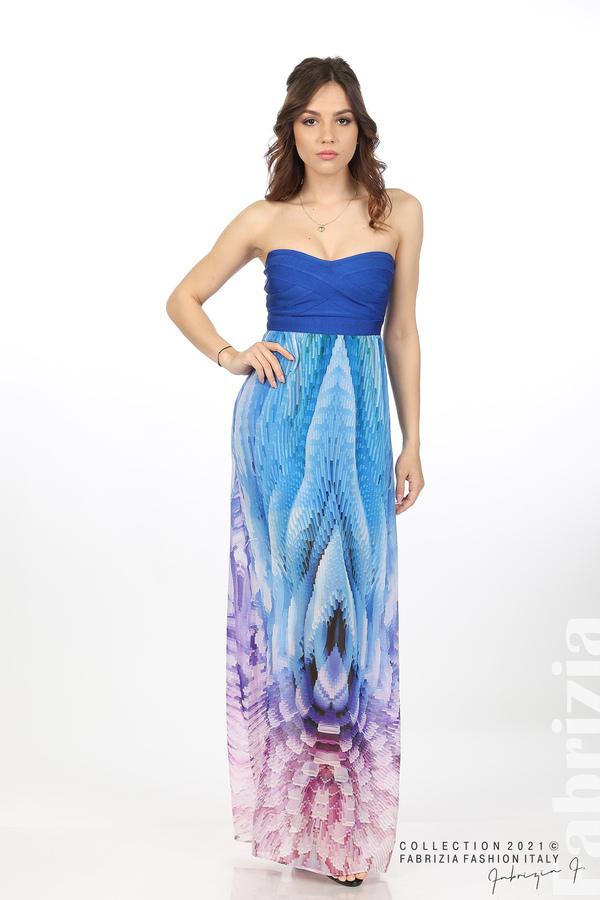 Фигурална рокля с ластично бюстие кр.син 5 fabrizia