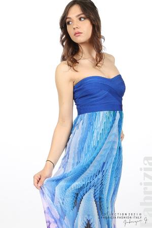 Фигурална рокля с ластично бюстие
