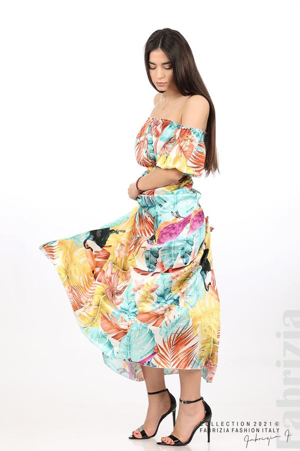 Сатенирана дълга рокля с флорална щампа многоцветен 3 fabrizia