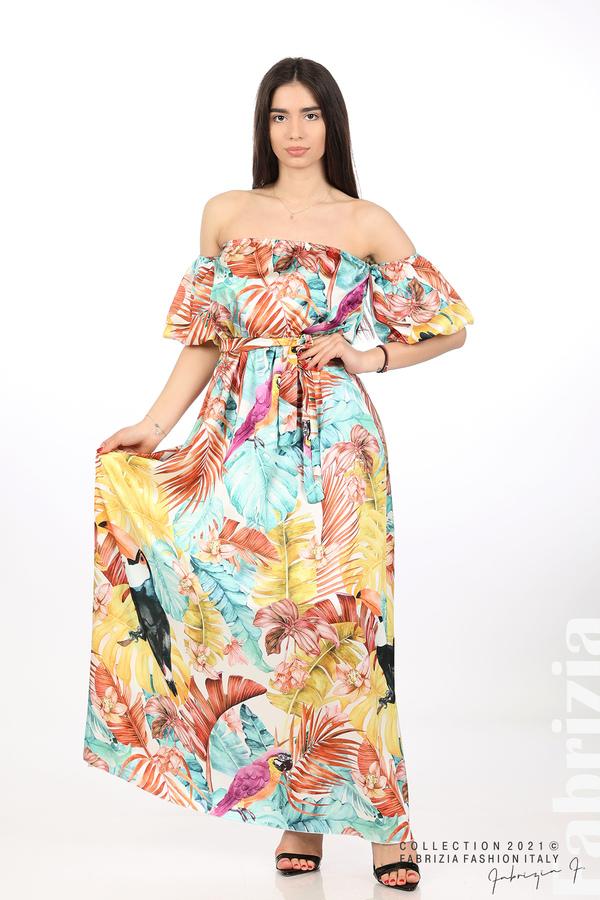 Сатенирана дълга рокля с флорална щампа многоцветен 1 fabrizia