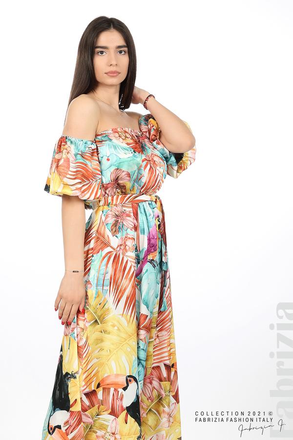 Сатенирана дълга рокля с флорална щампа многоцветен 4 fabrizia