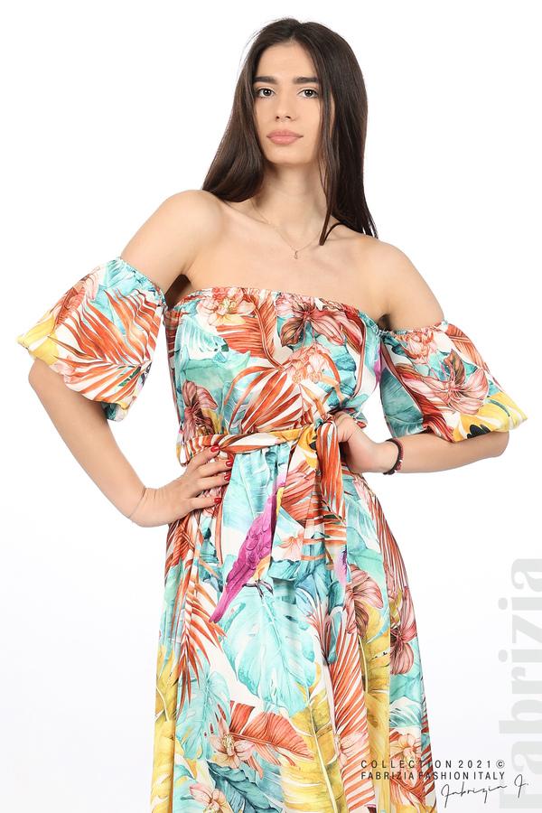 Сатенирана дълга рокля с флорална щампа многоцветен 2 fabrizia