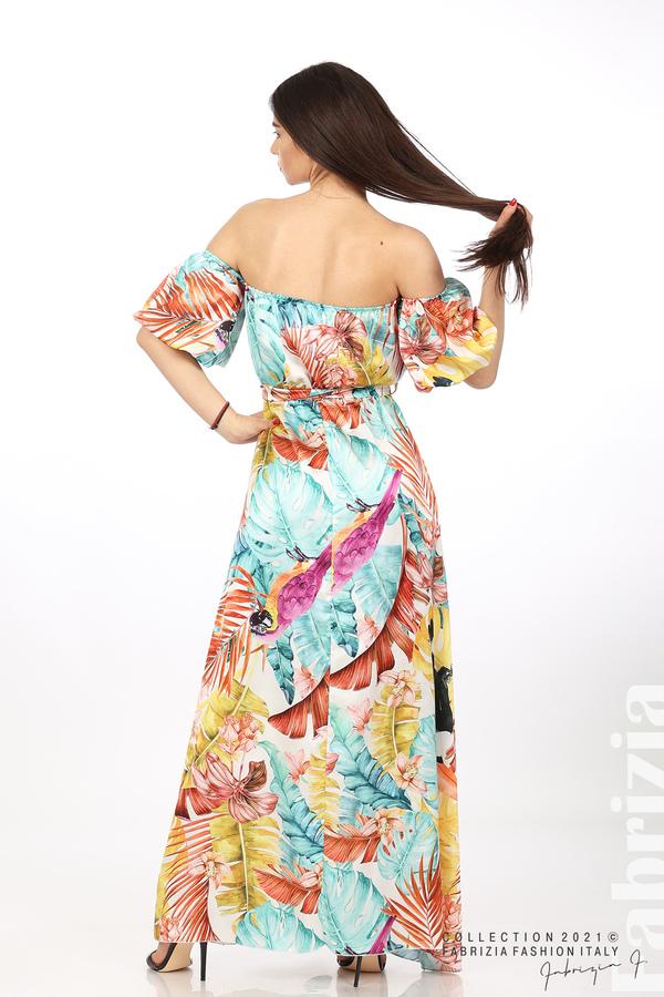 Сатенирана дълга рокля с флорална щампа многоцветен 5 fabrizia