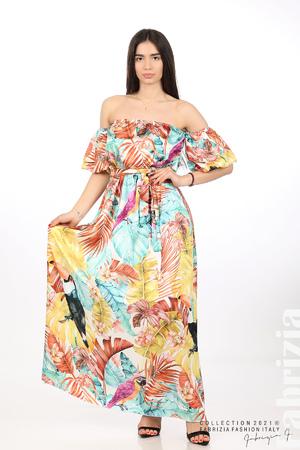 Дълга рокля с паднали рамене
