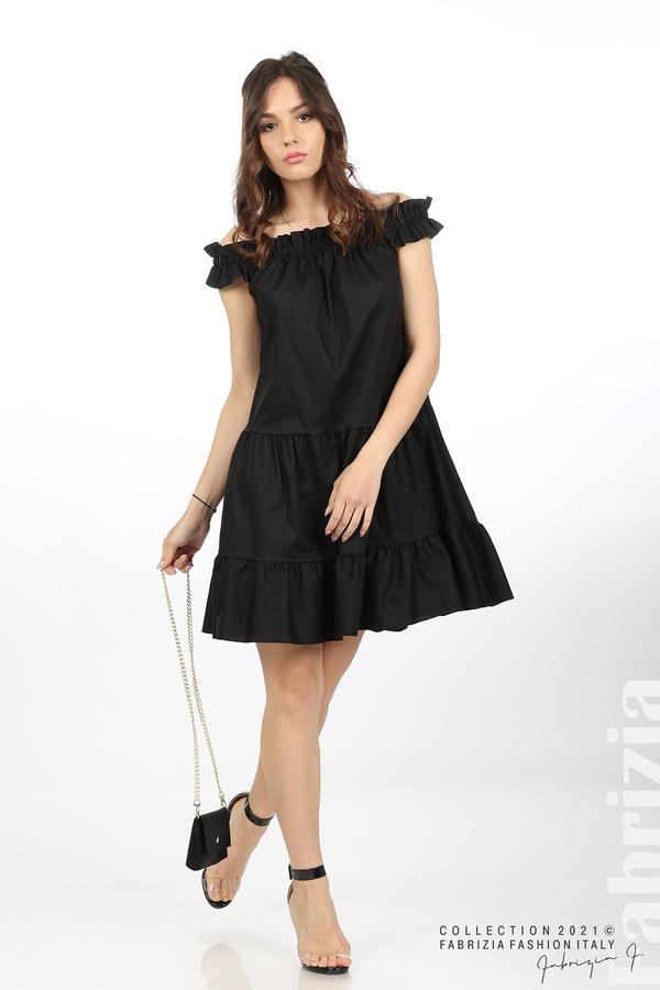 Къса рокля паднали рамене с аксесоар черен 4 fabrizia
