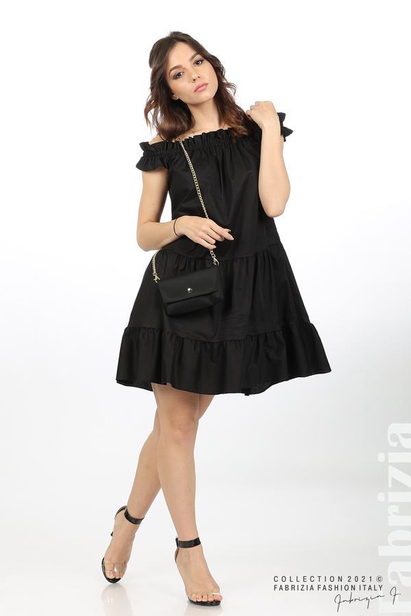 Къса рокля паднали рамене с аксесоар черен 2 fabrizia