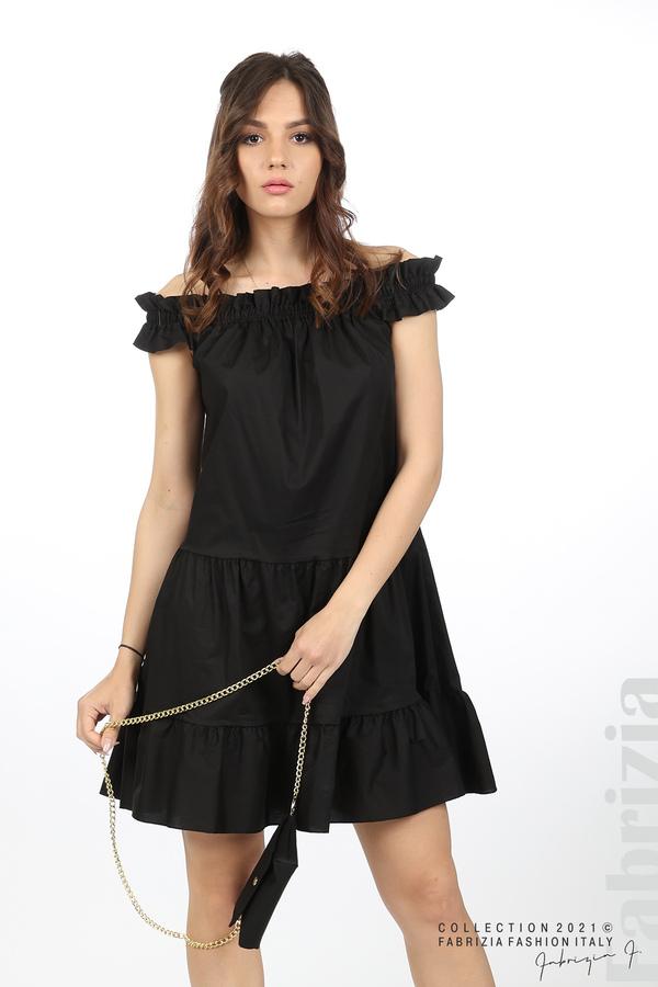 Къса рокля паднали рамене с аксесоар черен 1 fabrizia