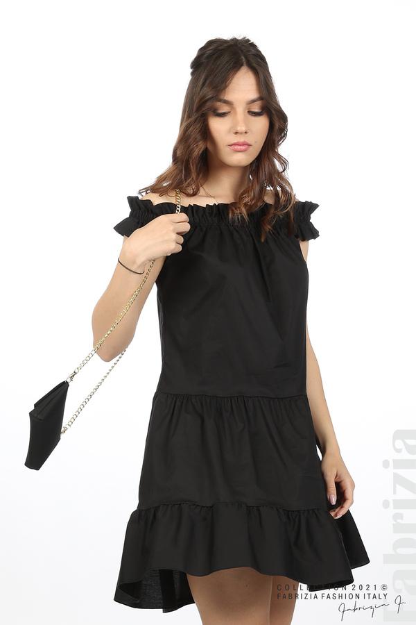 Къса рокля паднали рамене с аксесоар черен 5 fabrizia