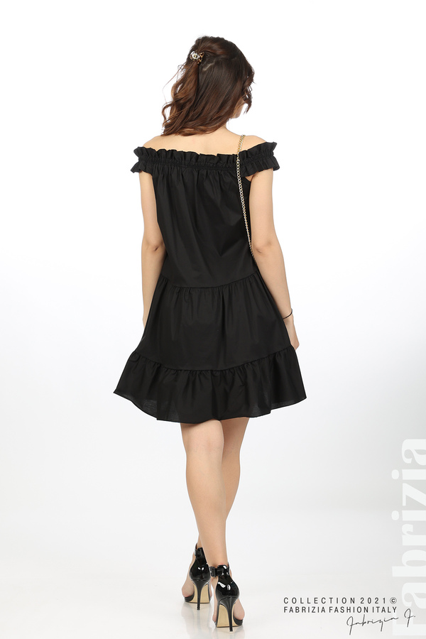 Къса рокля паднали рамене с аксесоар черен 6 fabrizia