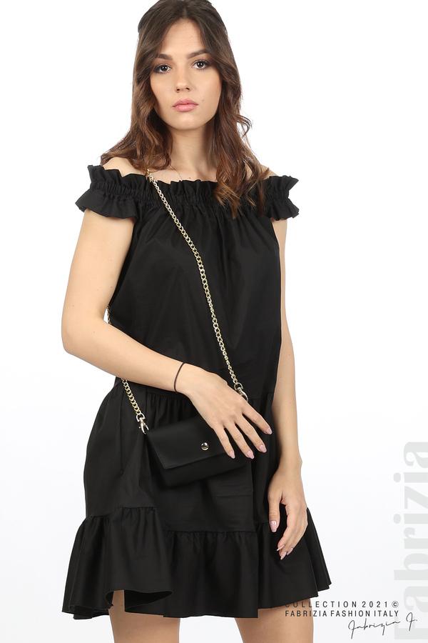 Къса рокля паднали рамене с аксесоар черен 3 fabrizia