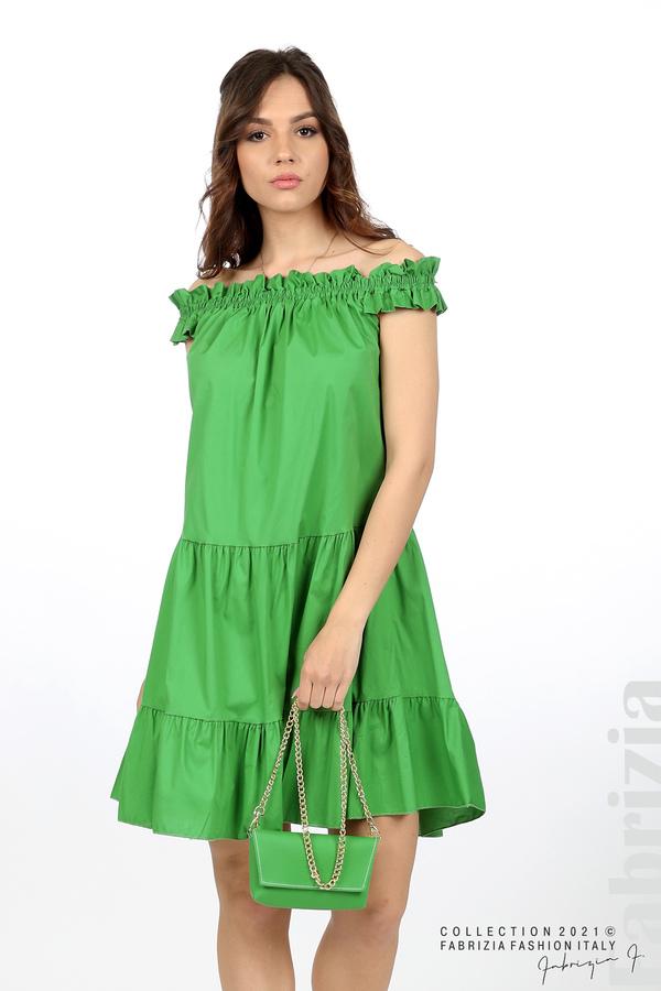 Къса рокля паднали рамене с аксесоар зелен 4 fabrizia