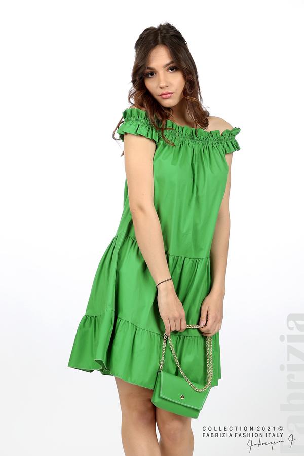 Къса рокля паднали рамене с аксесоар зелен 1 fabrizia