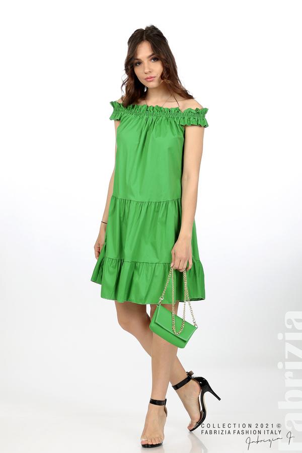 Къса рокля паднали рамене с аксесоар зелен 3 fabrizia