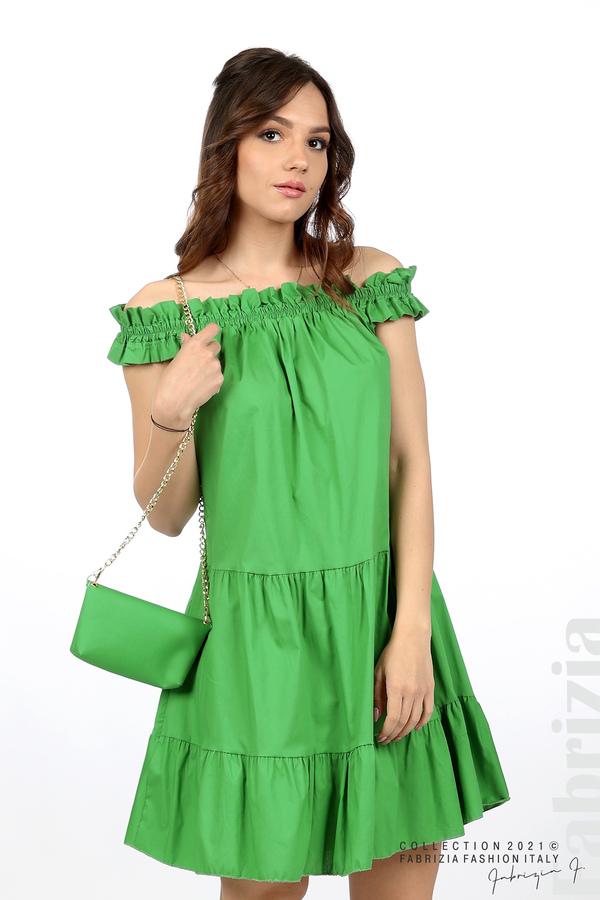 Къса рокля паднали рамене с аксесоар зелен 5 fabrizia