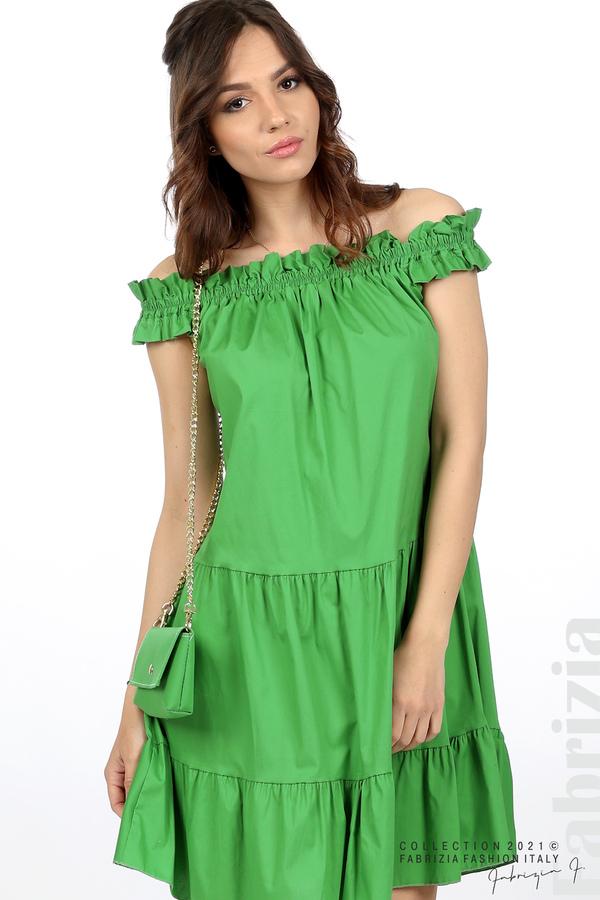 Къса рокля паднали рамене с аксесоар зелен 2 fabrizia