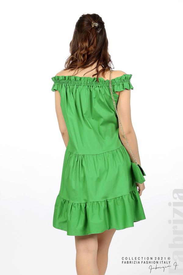 Къса рокля паднали рамене с аксесоар зелен 6 fabrizia