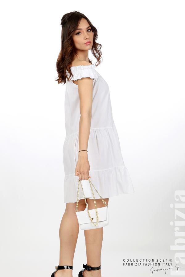 Къса рокля паднали рамене с аксесоар бял 2 fabrizia