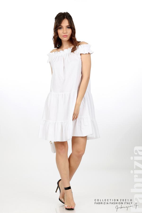 Къса рокля паднали рамене с аксесоар бял 3 fabrizia