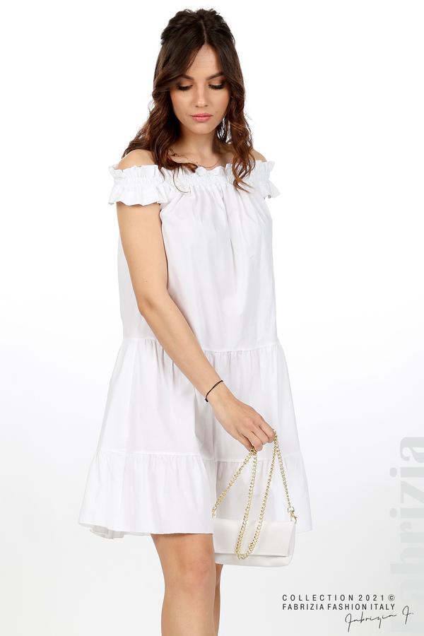 Къса рокля паднали рамене с аксесоар бял 4 fabrizia