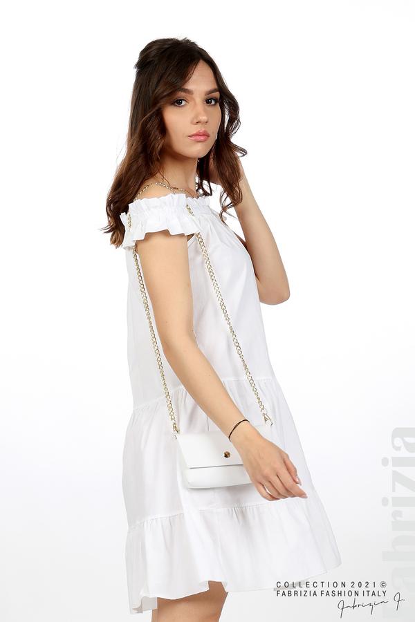 Къса рокля паднали рамене с аксесоар бял 5 fabrizia