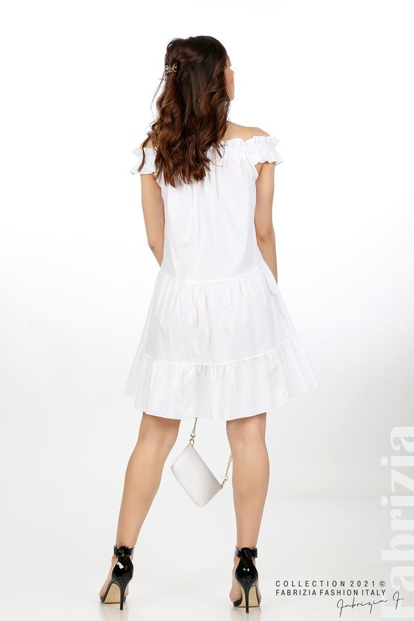 Къса рокля паднали рамене с аксесоар бял 6 fabrizia