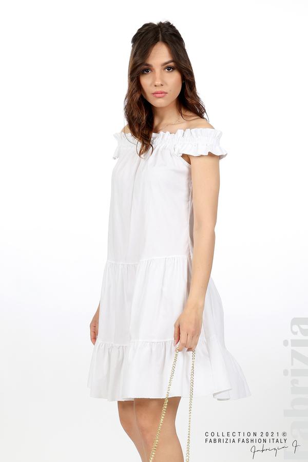 Къса рокля паднали рамене с аксесоар бял 1 fabrizia