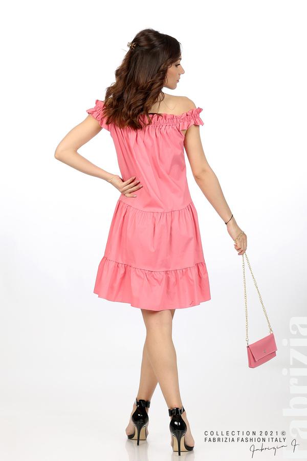Къса рокля паднали рамене с аксесоар розов 6 fabrizia