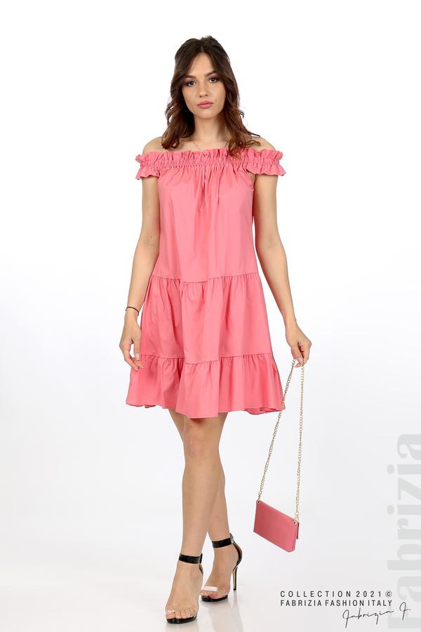 Къса рокля паднали рамене с аксесоар розов 1 fabrizia