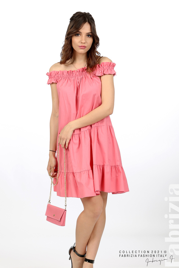 Къса рокля паднали рамене с аксесоар розов 3 fabrizia