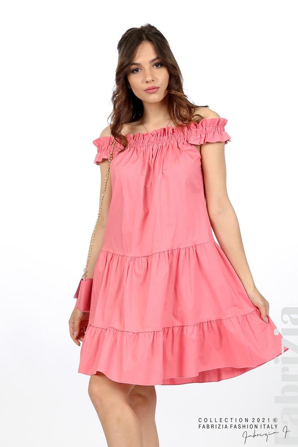 Къса рокля паднали рамене с аксесоар розов 4 fabrizia