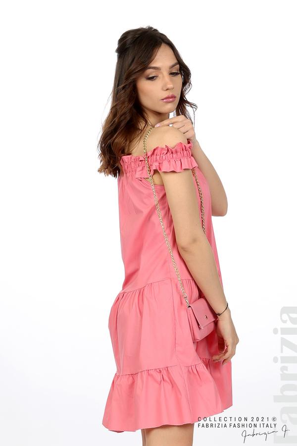 Къса рокля паднали рамене с аксесоар розов 5 fabrizia