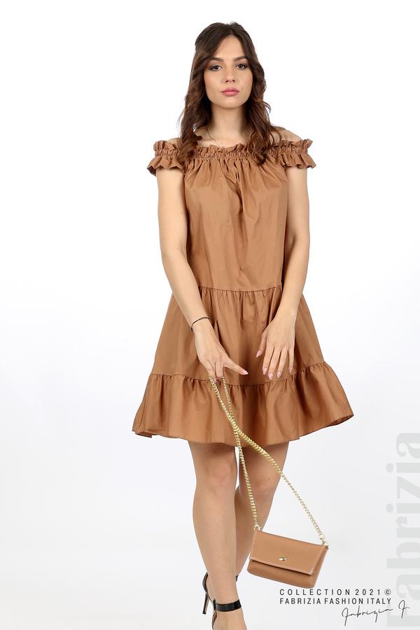 Къса рокля паднали рамене с аксесоар кафяв 4 fabrizia