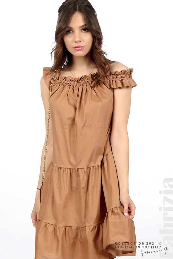 Къса рокля паднали рамене с аксесоар кафяв 3 fabrizia