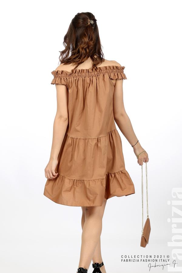 Къса рокля паднали рамене с аксесоар кафяв 6 fabrizia