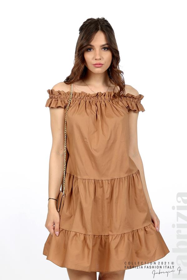 Къса рокля паднали рамене с аксесоар кафяв 5 fabrizia