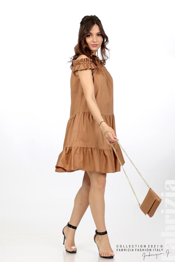 Къса рокля паднали рамене с аксесоар кафяв 1 fabrizia