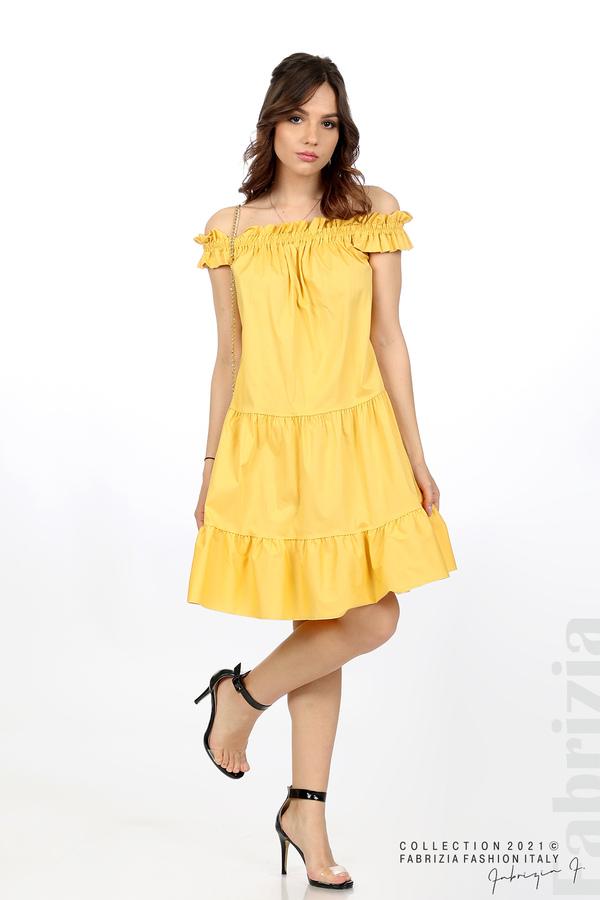 Къса рокля паднали рамене с аксесоар жълт 1 fabrizia