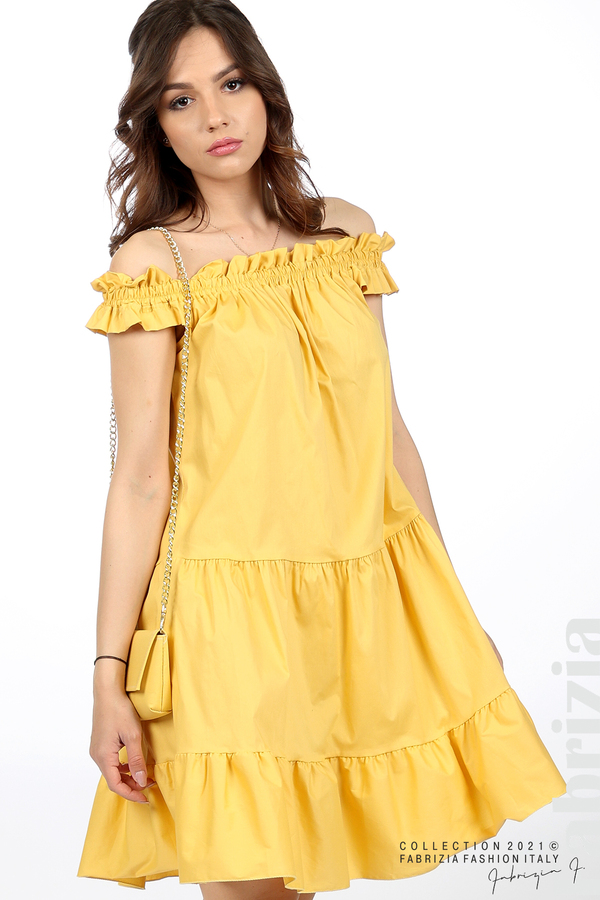 Къса рокля паднали рамене с аксесоар жълт 4 fabrizia