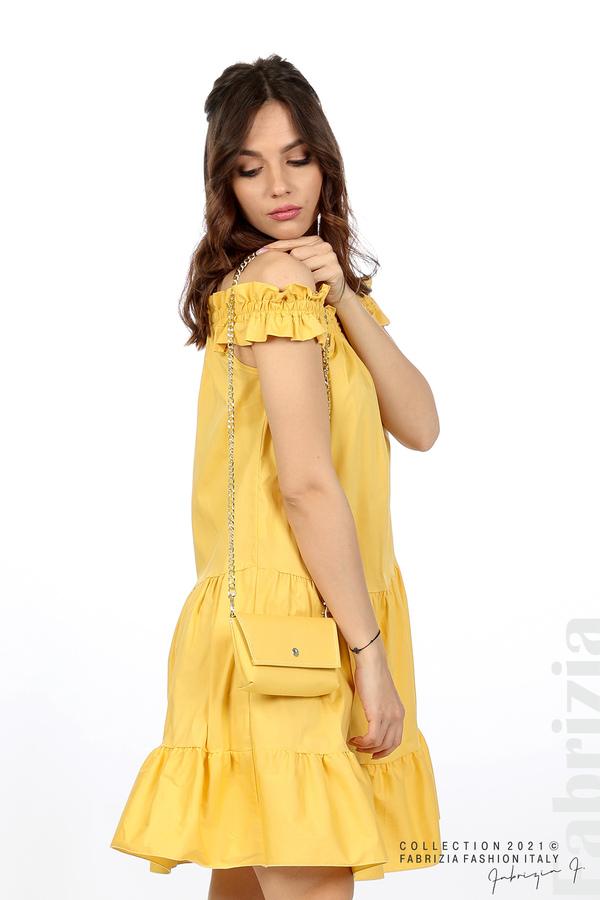 Къса рокля паднали рамене с аксесоар жълт 2 fabrizia
