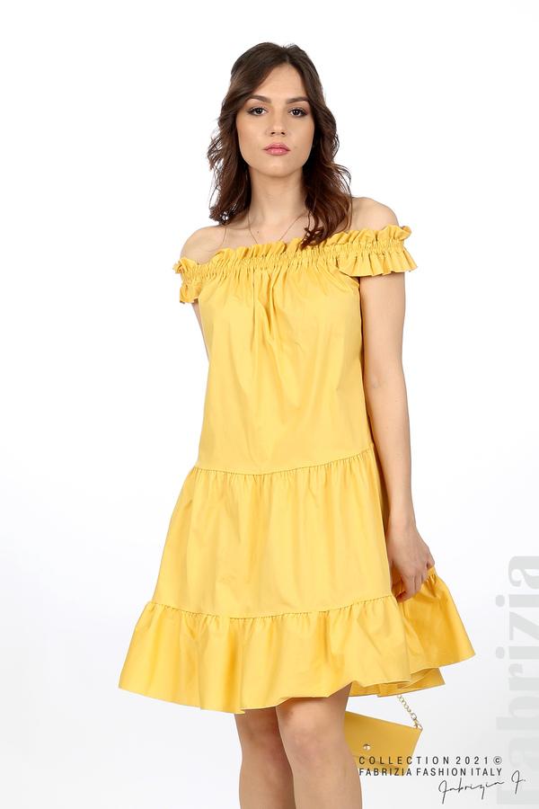Къса рокля паднали рамене с аксесоар жълт 5 fabrizia