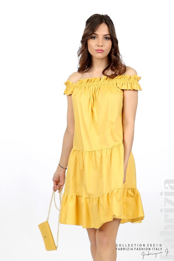 Къса рокля паднали рамене с аксесоар жълт 3 fabrizia