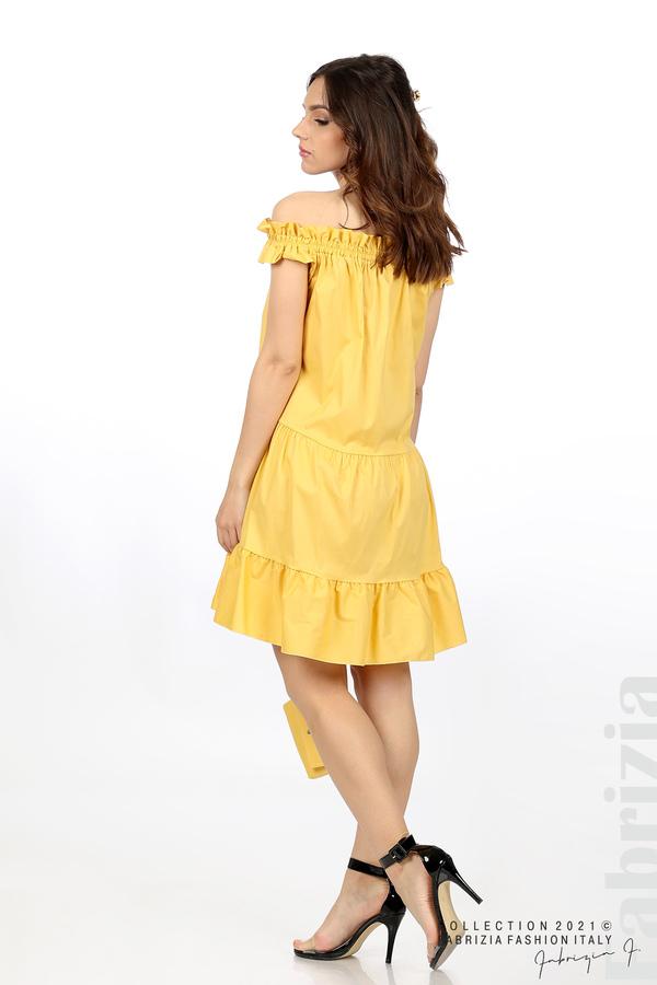 Къса рокля паднали рамене с аксесоар жълт 6 fabrizia