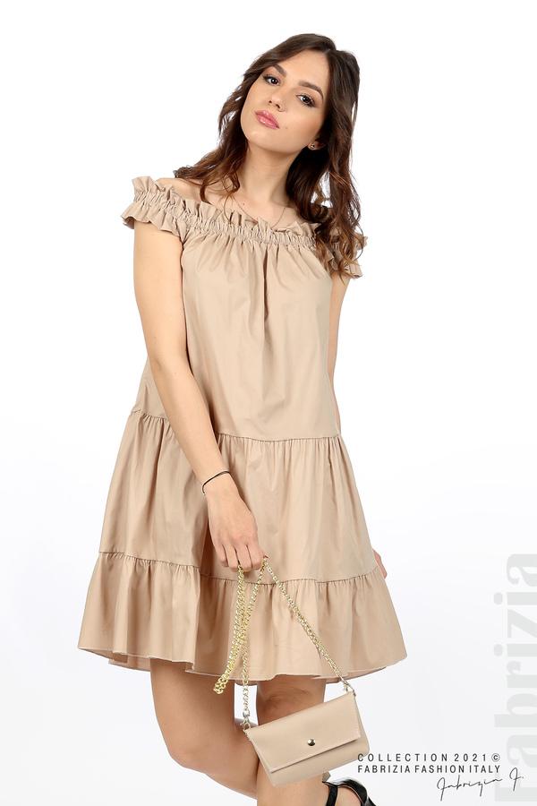 Къса рокля паднали рамене с аксесоар бежов 5 fabrizia