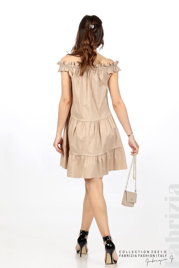 Къса рокля паднали рамене с аксесоар бежов 6 fabrizia