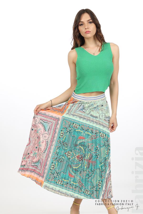 Многоцверна фигурална пола оранж/зелен 5 fabrizia