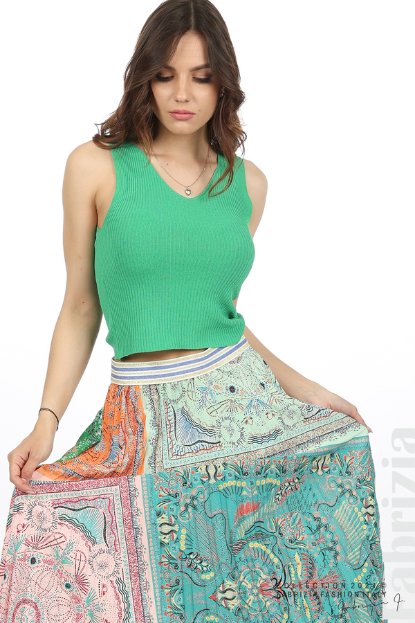 Многоцверна фигурална пола оранж/зелен 2 fabrizia