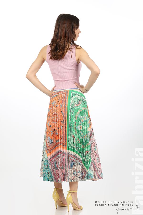 Многоцверна фигурална пола оранж/зелен 6 fabrizia